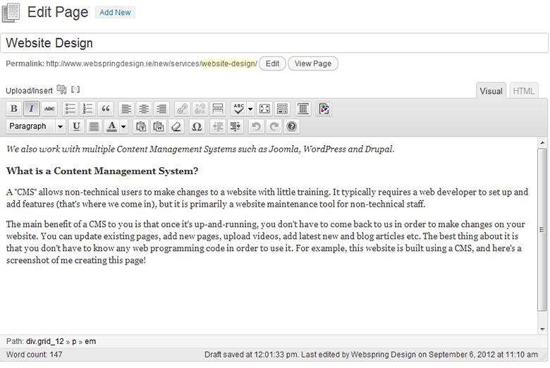 Website Design Using A Cms Webspring Design
